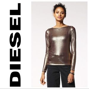 """Gold Iridescent """"T-Nica"""" Ribbed Long Sleeve Top"""